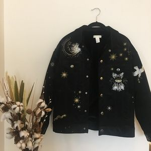 H&M Jackets & Coats - Celestial Embriodered Jacket (Faux Fur interior)